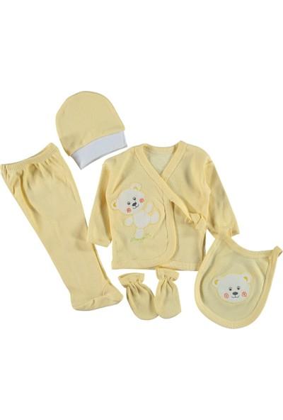 Burtaç Baby 5 Li Zıbın Seti Hastane Çıkışı Ayıcıklı Sarı