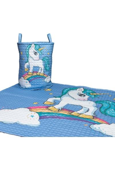 Mimiko Unicorn Desenli Mavi Oyun Halısı ve Oyuncak Sepeti