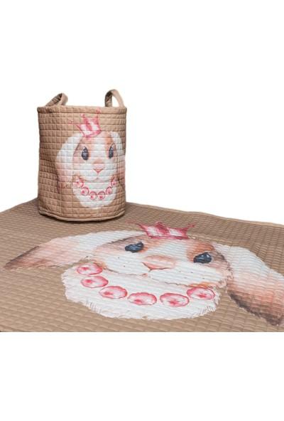 Mimiko Tavşan Desenli Oyun Halısı ve Oyuncak Sepeti Takımı
