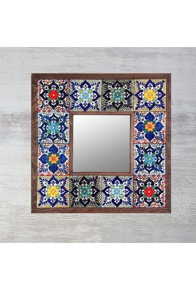 Atölye Hezarfen Etnik Desenli Seramik Karolu Ahşap Ayna