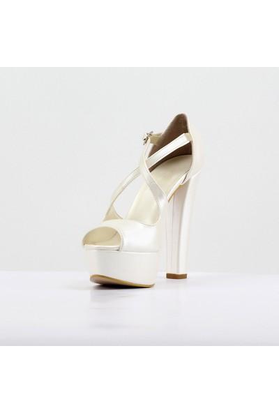 Nellson Jackson Amore Beyaz Sedef Renk Yüksek Topuk Abiye Ayakkabı