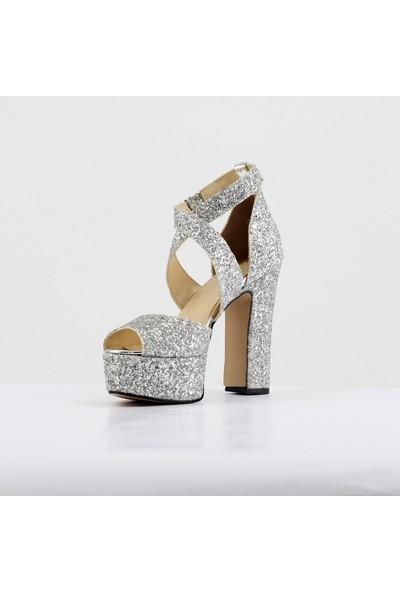 Nellson Jackson Amore Silver Gümüş Cam Kırığı Renk Yüksek Topuk Abiye Ayakkabı
