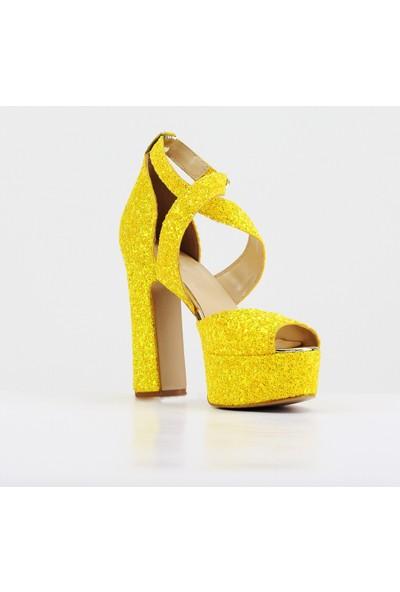 Nellson Jackson Golden Spike Sarı Cam Kırığı Yüksek Topuk Abiye Ayakkabı