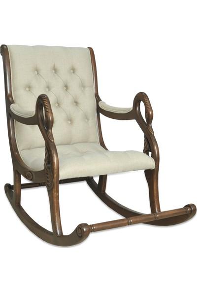 Asedia Teksas Vintage Ceviz-Krem Sallanan Sandalye