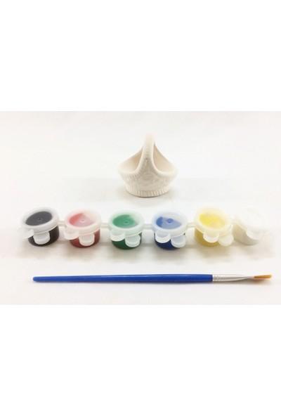 Joy And Toys Seramik Biblo Boyama Seti - Mini Sepet - 6 Cm