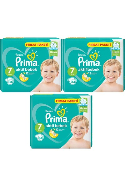Prima Fırsat Paketi 7 Numara 15+ kg 34 X 3=102 Adet Bebek Bezi