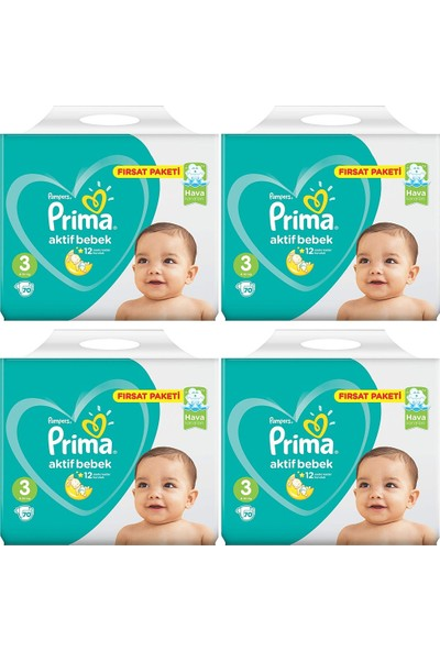 Prima Fırsat Paketi 3 Numara 6- 10 kg 70 X 4=280 Adet Bebek Bezi