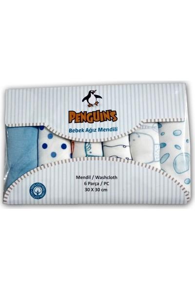 Penguins 6 Lı Ağızmendili Mavi