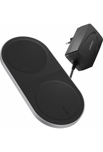 Spigen Essential F310W Dual Qi Hızlı Kablosuz Şarj Cihazı + Şarj Adaptörü (Çift Pad/10W/10W) - 000CH24976