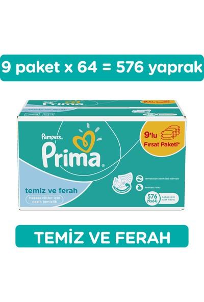 Prima Islak Havlu Temiz ve Ferah 9'lu 576 Yaprak Fırsat Paketi