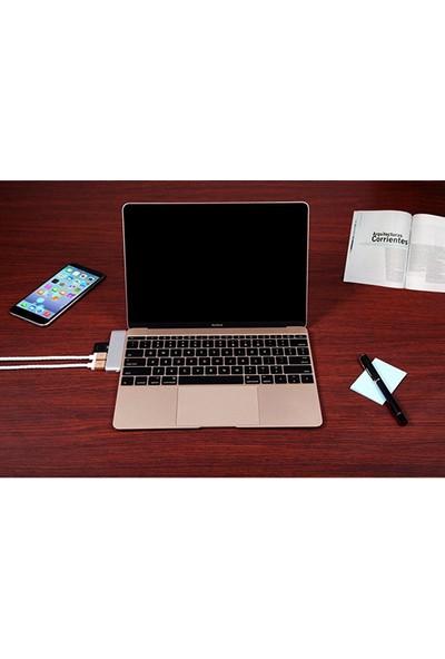 Case 4U USB-C/Type-C To SD Kart Okuyucu Ve Hub Çevirici Usb Port Macbook Altın