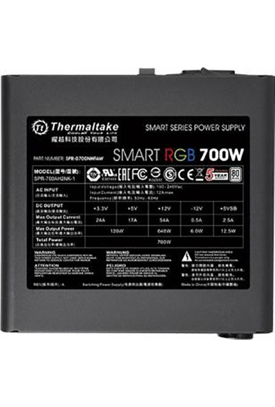 Thermaltake Smart 700W 80+ 12cm RGB Led Fanlı PSU (PS-SPR-0700NHSAWE-1)
