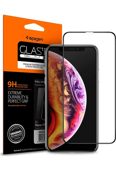Spigen Apple iPhone XS / iPhone X Cam Ekran Koruyucu Tam Kaplayan Full Cover Black - 063GL25234