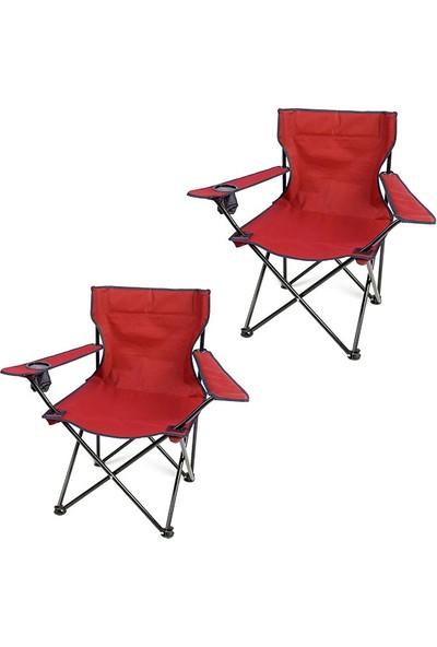 Bofigo 2 Adet Kamp Sandalyesi Katlanır Sandalye Bahçe Koltuğu Piknik Plaj Balkon Sandalyesi Kırmızı
