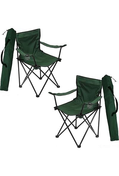 Bofigo 2 Adet Kamp Sandalyesi Katlanır Sandalye Bahçe Koltuğu Piknik Plaj Balkon Sandalyesi Yeşil