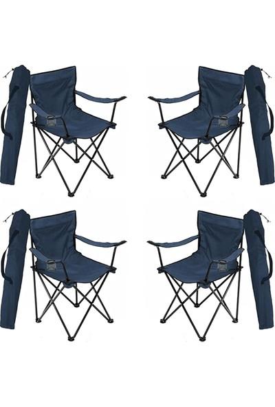 Bofigo 4 Adet Kamp Sandalyesi Katlanır Sandalye Bahçe Koltuğu Piknik Plaj Balkon Sandalyesi Mavi