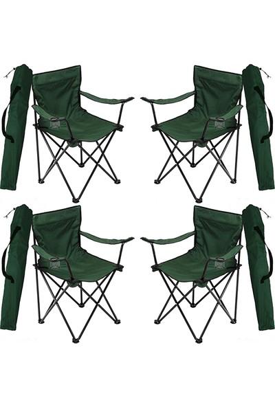 Bofigo 4 Adet Kamp Sandalyesi Katlanır Sandalye Bahçe Koltuğu Piknik Plaj Balkon Sandalyesi Yeşil