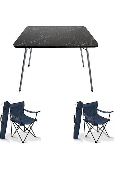 Bofigo 60X80 Granit Desen Katlanır Masa + 2 Adet Kamp Sandalyesi Katlanır Sandalye Piknik Plaj Sandalyesi Mavi