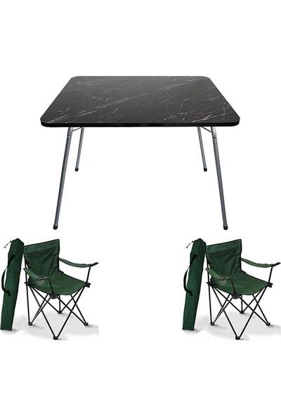 Bofigo 60X80 Granit Desen Katlanır Masa + 2 Adet Kamp Sandalyesi Katlanır Sandalye Piknik Plaj Sandalyesi Yeşil