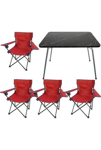 Bofigo 60X80 Granit Desen Katlanır Masa + 4 Adet Kamp Sandalyesi Katlanır Sandalye Piknik Plaj Sandalyesi Kırmızı