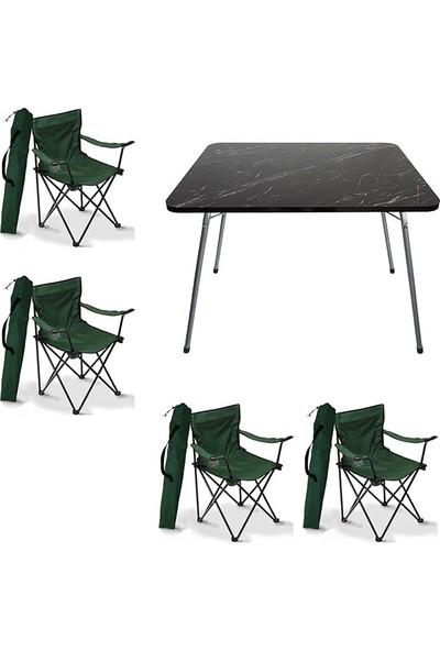 Bofigo Granit Desenli Katlanır Masa + Katlanır Yeşil Kamp Sandalyesi - 4 Adet