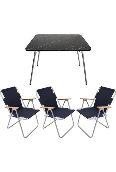 Bofigo 60X80 Granit Desenli Katlanır Masa + 3 Adet Katlanır Sandalye Kamp Seti Bahçe Balkon Takımı Lacivert