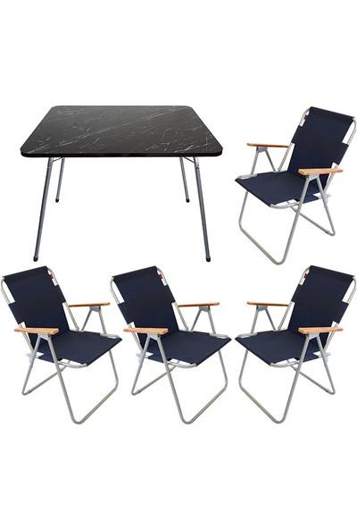 Bofigo 60X80 Granit Desenli Katlanır Masa + 4 Adet Katlanır Sandalye Kamp Seti Bahçe Balkon Takımı Lacivert