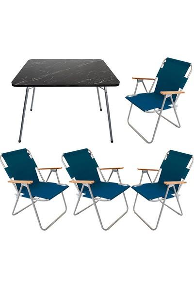 Bofigo 60X80 Granit Desenli Katlanır Masa + 4 Adet Katlanır Sandalye Kamp Seti Bahçe Balkon Takımı Mavi