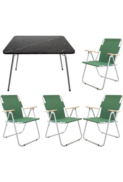 Bofigo 60X80 Granit Desenli Katlanır Masa + 4 Adet Katlanır Sandalye Kamp Seti Bahçe Balkon Takımı Yeşil