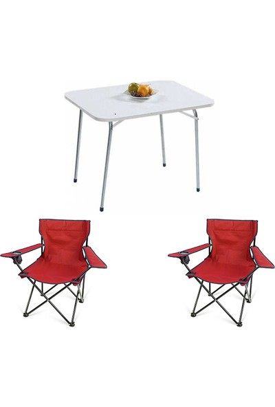 Bofigo Katlanır Masa 60 x 80 cm + 2 Adet Katlanır Kamp Sandalyesi Kırmızı