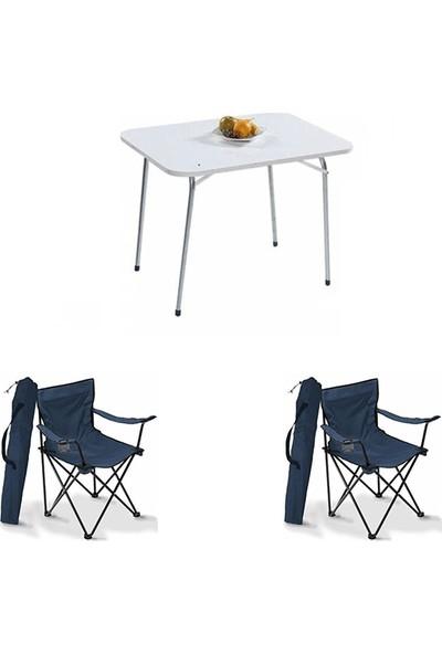 Bofigo 60X80 Katlanır Masa + 2 Adet Kamp Sandalyesi Katlanır Sandalye Piknik Plaj Sandalyesi Mavi