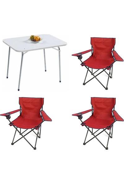Bofigo 60X80 Katlanır Masa + 3 Adet Kamp Sandalyesi Katlanır Sandalye Piknik Plaj Sandalyesi Kırmızı