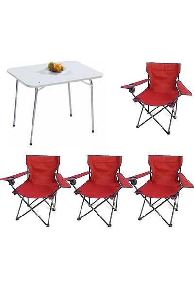 Bofigo 60X80 Katlanır Masa + 4 Adet Kamp Sandalyesi Katlanır Sandalye Piknik Plaj Sandalyesi Kırmızı