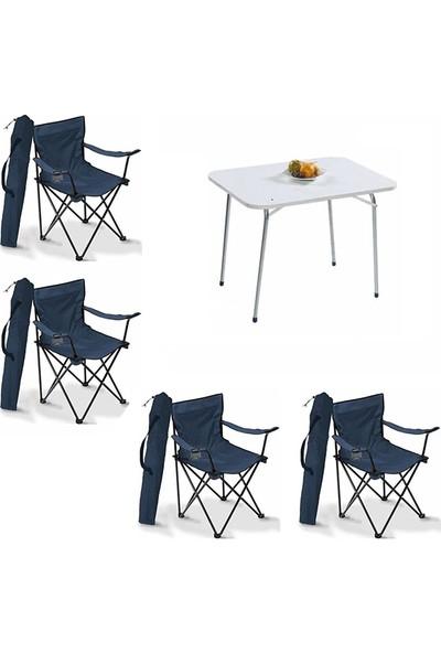 Bofigo 60X80 Katlanır Masa + 4 Adet Kamp Sandalyesi Katlanır Sandalye Piknik Plaj Sandalyesi Mavi
