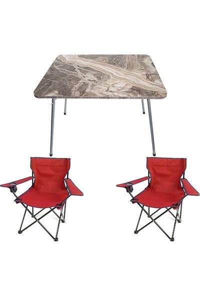 Bofigo 60X80 Mermer Desen Katlanır Masa + 2 Adet Kamp Sandalyesi Katlanır Sandalye Piknik Plaj Sandalyesi Kırmızı