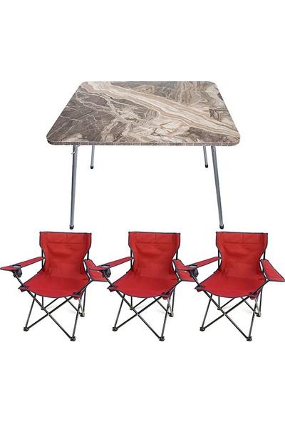Bofigo 60X80 Mermer Desen Katlanır Masa + 3 Adet Kamp Sandalyesi Katlanır Sandalye Piknik Plaj Sandalyesi Kırmızı