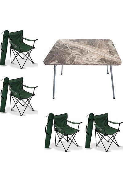 Bofigo 60X80 Mermer Desen Katlanır Masa + 4 Adet Kamp Sandalyesi Katlanır Sandalye Piknik Plaj Sandalyesi Yeşil