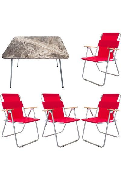 Bofigo 60X80 Mermer Desenli Katlanır Masa + 4 Adet Katlanır Sandalye Kamp Seti Bahçe Balkon Takımı Kırmızı