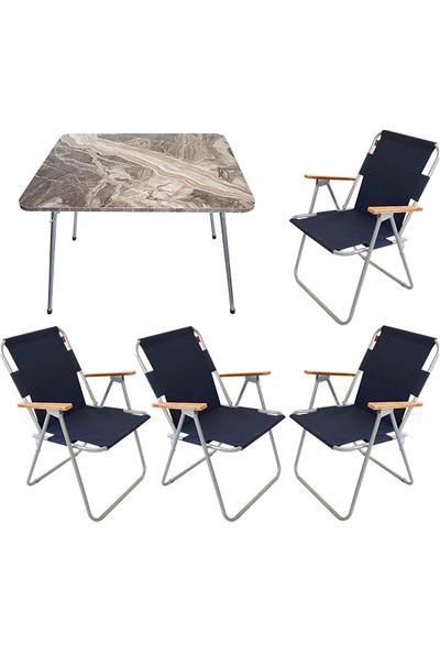 Bofigo 60X80 Mermer Desenli Katlanır Masa + 4 Adet Katlanır Sandalye Kamp Seti Bahçe Balkon Takımı Lacivert