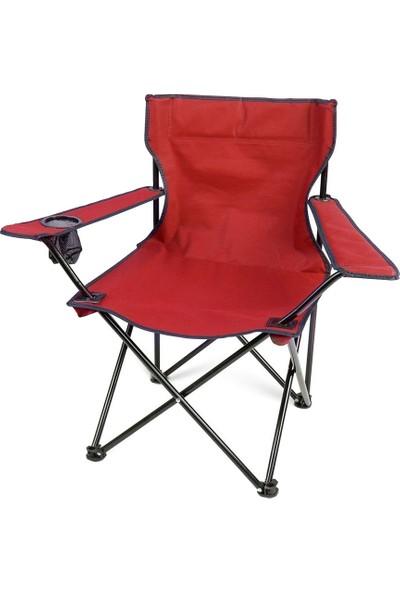 Bofigo Kamp Sandalyesi Katlanır Sandalye Bahçe Koltuğu Piknik Plaj Balkon Sandalyesi Kırmızı