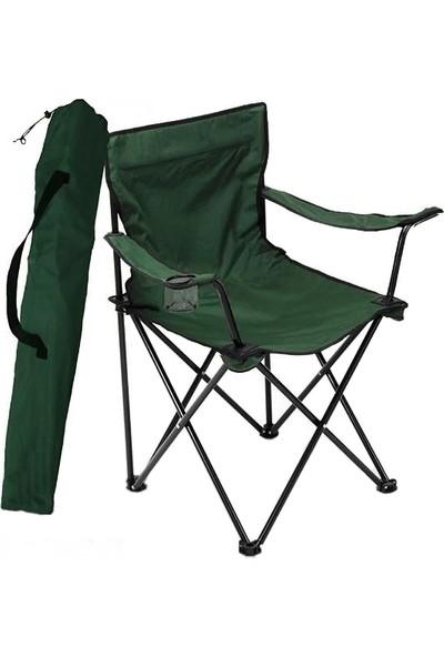 Bofigo Kamp Sandalyesi Katlanır Sandalye Bahçe Koltuğu Piknik Plaj Balkon Sandalyesi Yeşil