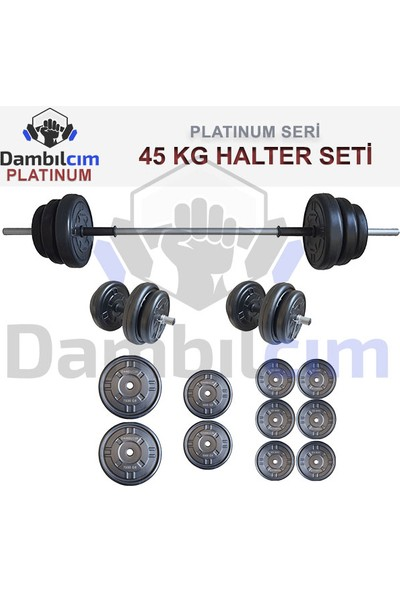 Dambılcım Platinum 45 Kg Halter Seti 45 Kg Dambıl Seti Ağırlık Seti Vücut Geliştirme Aleti