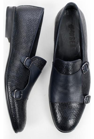 Deepsea Lacivert Hasır Örgü Yeni Sezon Deri Erkek Ayakkabı 1909785