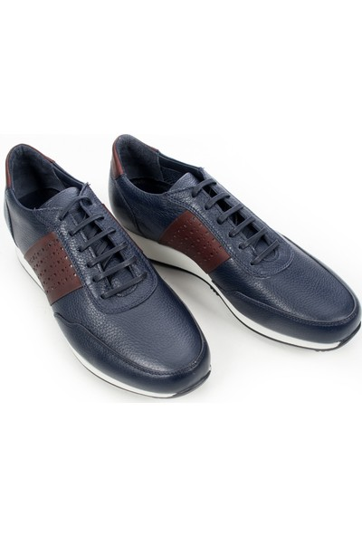 Deepsea Lacivert Renkli Taban Bağcıklı Spor Deri Erkek Ayakkabı 1909849