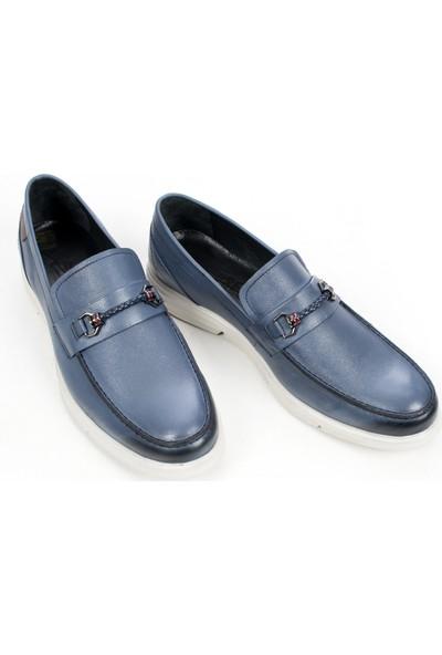 Deepsea Mavi Yüksek Taban Tokalı Yeni Sezon Deri Erkek Ayakkabı 1909428