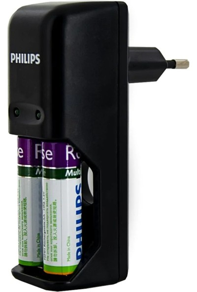 Philips SCB1292NB Pil Şarj Cihazı + 2'li 2000 Mah Siyah Şarj Edilebilir Pil