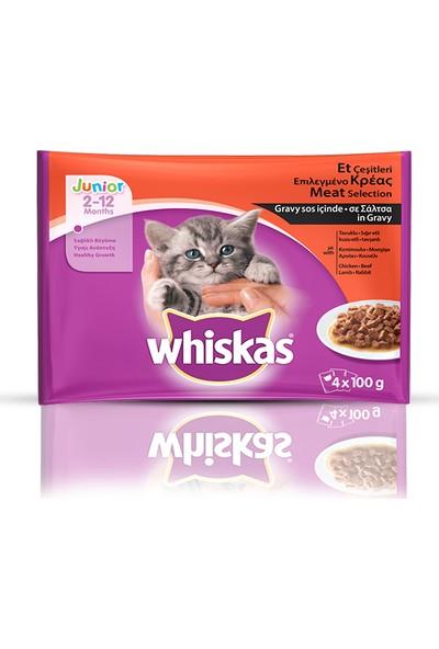 Whi̇skas Pouch Juni̇or Et Çeşi̇tleri̇ Yavru Kedi Maması 4'lü 13 x 100 gr