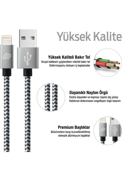 Qwerts Apple Iphone USB Lightning USB Hızlı Data ve Şarj Kablosu 1-3 mt