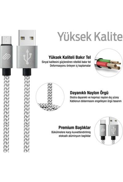 Qwerts Micro USB Örgülü Hızlı Şarj ve Data Kablosu 2 mt (Gümüş -Beyaz)