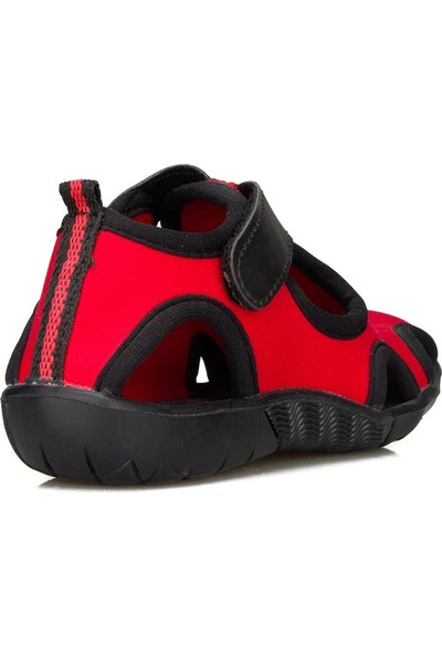 Crazy Kids Siyah Kırmızı Erkek Bebek - Çocuk Deniz Ayakkabısı Terliği